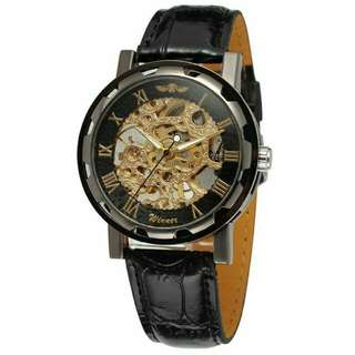 Hallow Engraved Leather Watch
