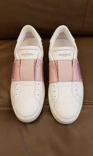 VALENTINO Elastic Band Open Sneakers Watery Rose Pink White