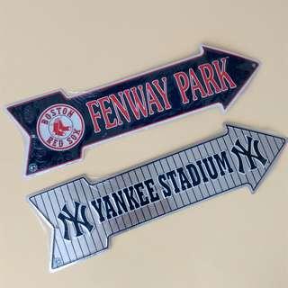 全新波士頓紅襪、紐約洋基箭頭標誌1件