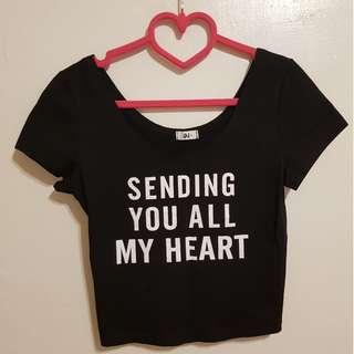 性感英文字母短版棉料短袖上衣T恤