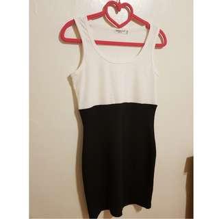 簡約韓版OL上班族黑白系列無袖背心包臀顯瘦洋裝
