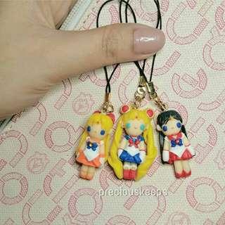"Sailor venus, sailor moon and sailor mars 1"" chibi doll"
