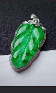 🍀18K White Gold - Grade A 冰种 Icy Spicy Green Leaf 一夜暴富, 一夜成名, 事业有成 Jadeite Jade Pendant🍀