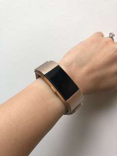 Fitbit Charge 2 Champagne Gold Milanese Stainless Steel Mesh Straps