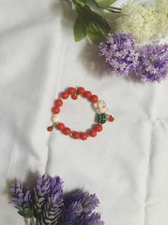 Red Pearl with Owl Statement