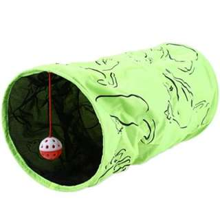 3-Layer Folding Cat Crinkly Kitten Tunnel Toy With Bell Ball