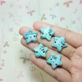 Little blue stars cp/bag charms