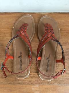 Brown and Red Sandals