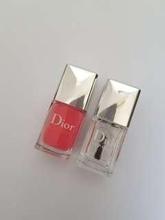 NEW! Dior Nail Polish Bright Pink & Top Coat Duo