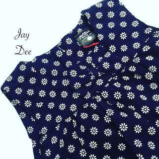 Baby Cotton Dress (Floral Dark Blue)