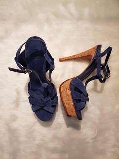 Schutz blue strappy heels