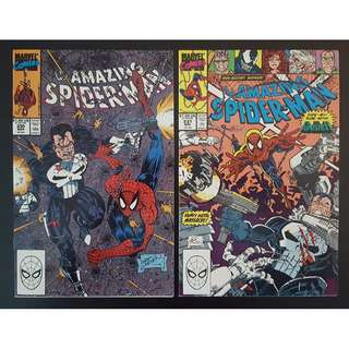 Amazing Spider-Man #330,#331 (1990, 1st Series) Set of 2 (Guest-starring The PUNISHER!)
