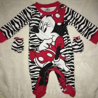 Minnie Mouse Footed Onesie w/ Mittens