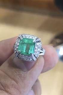 祖母綠鑽石戒指3.15克拉哥倫比亞祖母綠1.02克拉鑽石