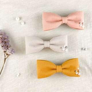 🚚 Handmade crystal pearl bow clip, mustard gold bow, salmon bow, peach bow, mustard yellow bow, formal hair clip, coral bow, beige hair bow clip, ivory