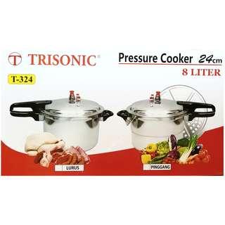 Trisonic panci presto 8 liter T324 /pressure cooker /panci pelunak