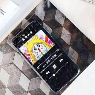 手機殼IPhone6/7/8/plus/X : 美少女戰士播放器鑽石紋全包邊透明軟殼