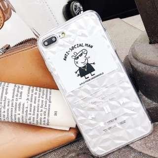 手機殼IPhone6/7/8/plus/X : Peppapig小豬播放器鑽石紋全包邊透明軟殼