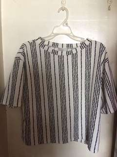 [UNBRANDED] White Blouse with Black Stripes