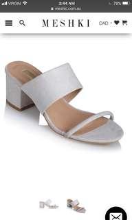 Meshki low block heel sandal in frost suede
