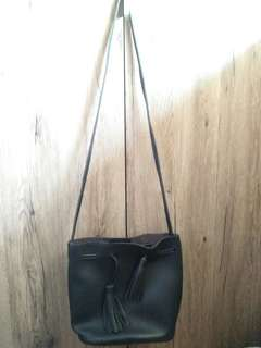 Black Leather Bucket Sling Bag