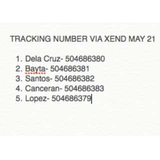 TRACKING NUMBERS MAY 21