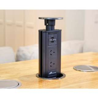 V2SBSS: Black Stainless Steel Pop Up Power Point
