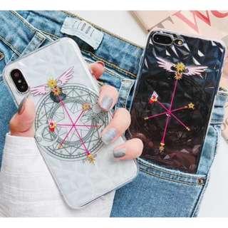 手機殼IPhone6/7/8/plus/X : 魔法棒徽章纘石紋全包邊透明軟殼