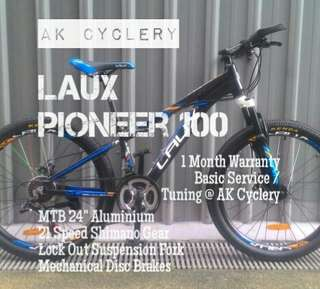 """🚚 MTB 24"""" LAUX Pioneer 100 Aluminium 21 Speed Shimano Gear Lock Out Suspension Fork Mechanical Disc Brakes Bicycle"""