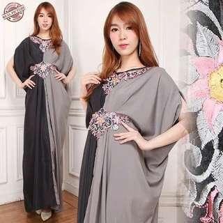 HLY Gamis aurel longdress l atasan fashion baju muslim gamis kaftan bunga kaftan bordir wanita
