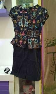 Dres batik biru bodycon
