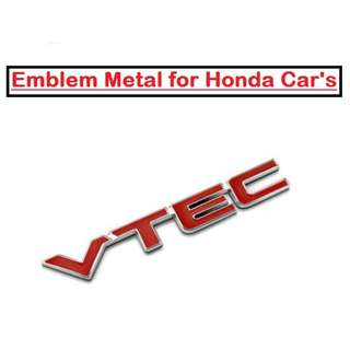 VTEC Car Metal Emblem Badge Tailgate Decal for Honda Cars