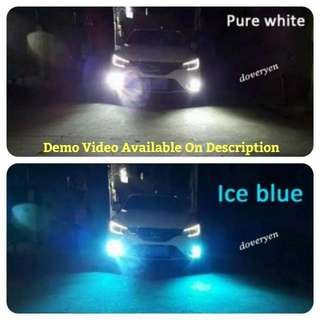 Dual Color Led Fog Light  H1 H3 H8 H9 H11 HB3 HB4 880 881  ★White & Ice Blue All In One Bulb  ★White 6.5k ★Off & On Fog Light Switch      Change To Ice Blue 8k  ★New Design  ★Plug & Play  ★2600 Lm Per Bulb ★New 30/30 Led Chip ★Ultra Bright   In Stock