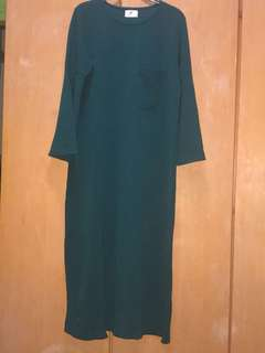 Maxi Front Pocket Dark green Side slit Dress/Top
