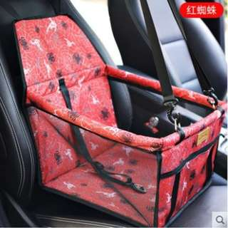 Portable Foldable Car Seat Cover Carrier with Seat Belt for Dog Cat (Black)