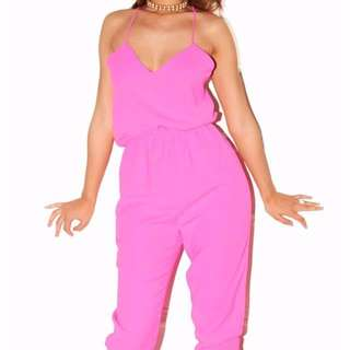 IMPORTED Brushed Silk Neon Pink Jumpsuit