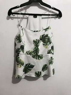 Thin strap leaves print top
