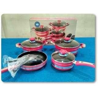 Panci Set Dan Penggorengan Rose Pink 9Pcs Teflon Bagus Anti Lengket