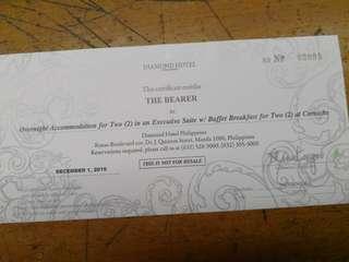 Diamond Hotel Gift Certificate
