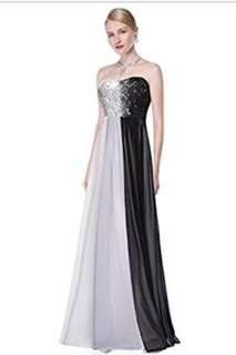 Strapless black and white Formal Dress