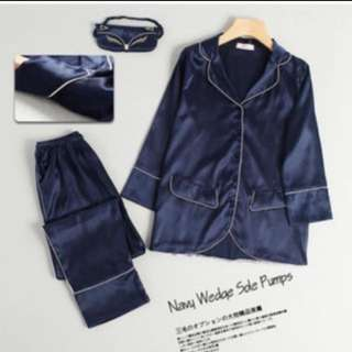 New piyama pajamas navy satin sepasang