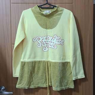🚚 二手/ 代售/ 條紋 黃色 長袖 #五十元好物