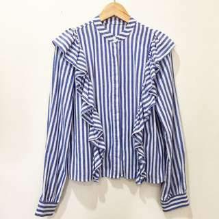Pomelo stripes ruffle shirts