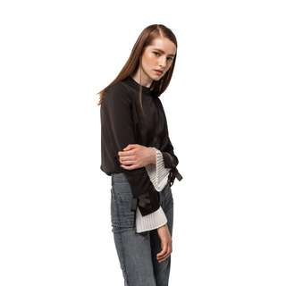 Eight Slate Pleat Sleeve Top