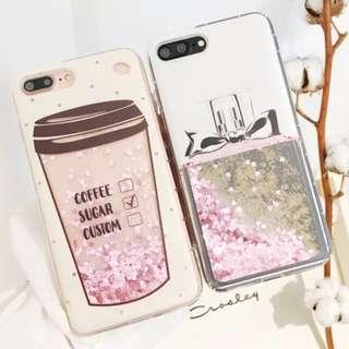 手機殼IPhone6/7/8/plus/X : 咖啡杯/香水瓶流沙全包邊軟殼