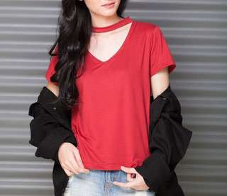 V neck top with choker strap
