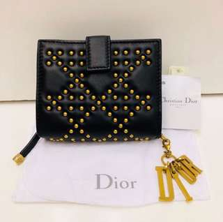 全新 Dior Lamb Leather Gold Studs Wallet