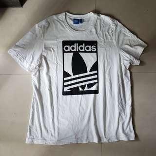 Adidas愛迪達三葉草男版純棉白T-XL號