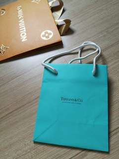 AUTHENTIC Tiffany and co paper bag package hand carry shopping carrier original packaging blue