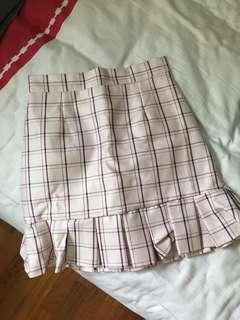 Checkered High Waist Skirt